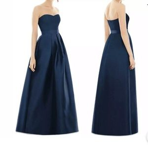 ALFRED SUNG FULL LENGTH STRAPLESS SATEEN GOWN